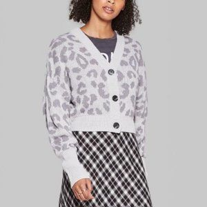 Wild Fable Gray leopard Cropped Cardigan